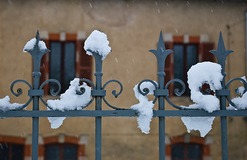 Snow on Fence ~ Fence picture from Aillevillers  France.