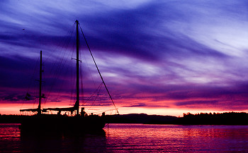 Evening at Mansons Landing ~ Boating picture from Cortes Island Canada.