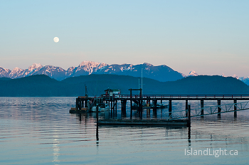Rising Moon Over Squirrel Cove Dock ~ Harbour picture from Cortes Island Canada.