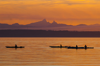 Evening Paddle ~ Kayak picture from Cortes Island Canada.