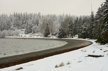 Winter at Smelt Bay ~ Landscape picture from Cortes Island Canada.