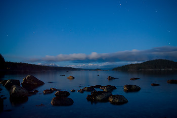 Spring Night ~ Landscape  picture from Cortes Island Canada.