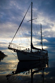 Ketch ~ Sailboat picture from Cortes Island Canada.