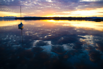 At Anchor ~ Sailboat picture from Cortes Island Canada.