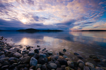 Hollyhock Beach in Morning Light ~ Sunrise picture from Cortes Island Canada.