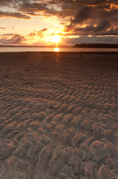 Tideflat Sandscape ~ Sunset picture from Cortes Island Canada.