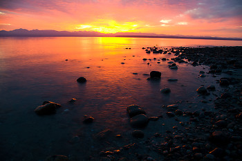 Sunset picture from Cortes Island Canada.