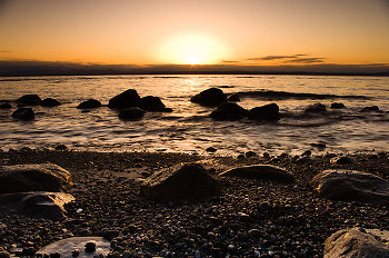 Granite, Salt Water and Sun ~ Sunset picture from Cortes Island Canada.