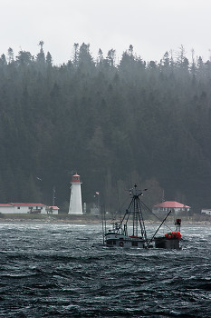 Running before the gale  ~ Fishing Boat picture from Discovery Passage Canada.