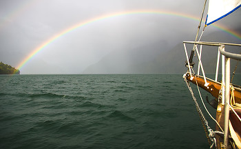 Rainbow ~ Sailing picture from Knight Inlet Canada.