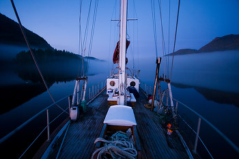 Portrait of a Ketch in Early Morning ~ Sailboat picture from Port Neville Canada.