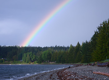 Rainbow Over Smelt Bay 2 ~ Rainbow picture from Cortes Island Canada.