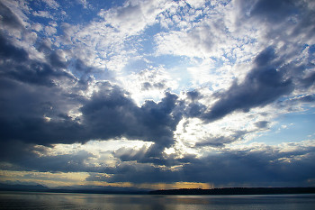 Sunburst Over Quadra Island ~ Skyscape picture from Sutil Channel Canada.