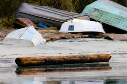 Beached Dinghies ~ Boating  picture from Cortes Island Canada.