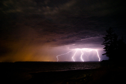 Four Bolts of Lightening ~ Lightening picture from Cortes Island Canada.