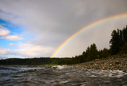 Rainbow Over Smelt Bay ~ Rainbow picture from Cortes Island Canada.