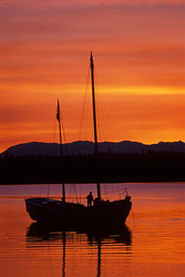 Water On Fire - Sailboat photo from  Cortes Island BC, Canada