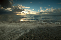 Wave and Sun ~ Seascape  picture from Cortes Island Canada.