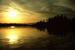 Cat Islands In Gold ~ Seascape picture from Cortes Island Canada.
