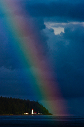 Rainbow over Cape Mudge Lighthouse ~ Seascape  picture from Discovery Passage Canada.