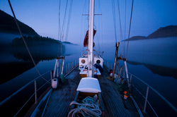 Portrait of a Ketch in Early Morning - Port Neville Sailboat photo