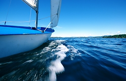 Summer Dinghy Sailing on the Salish Sea ~ sailing picture from Sutil Channel Canada.