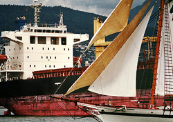 The Old and The New ~ Tall Ship picture from Vancouver Canada.