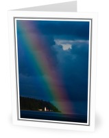 Rainbow over Cape Mudge Lighthouse - Seascape  photo from Cape Mudge Discovery Passage BC, Canada